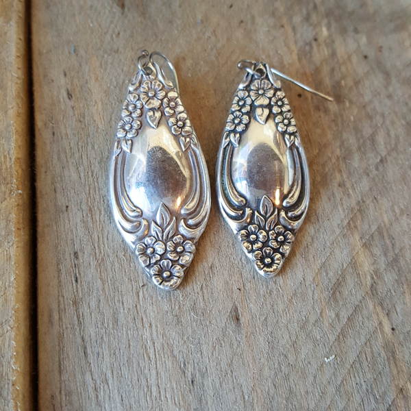 Antique Silver Spoon Ends Make These Fantastic Earrings Due To The Nature Of Antiques Length And Will Vary