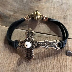 curved cross bracelet bo